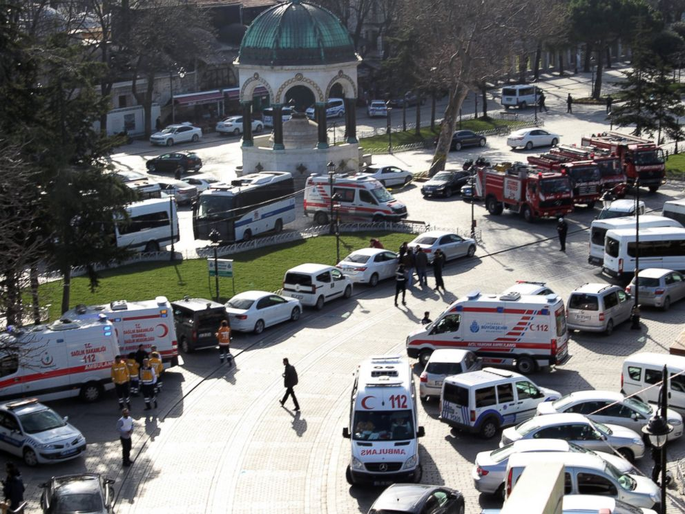 PHOTO: Ambulances and firefighters are seen after an explosion at Istanbuls historic Sultanahmet district, Jan. 12, 2016.