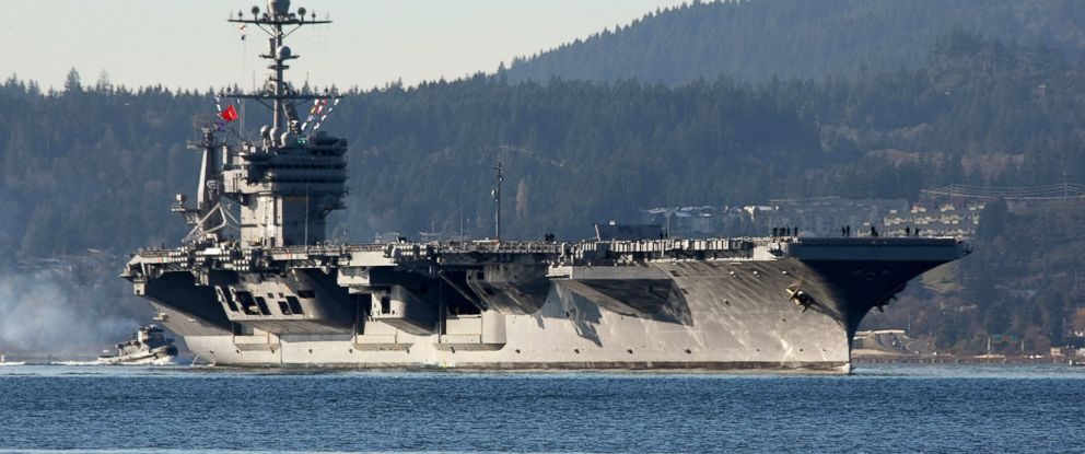 PHOTO: The aircraft carrier USS John Stennis is seen near Bremerton, Wash., Dec. 1, 2014. China recently denied a request from the U.S. aircraft carrier Stennis for a port visit in Hong Kong.