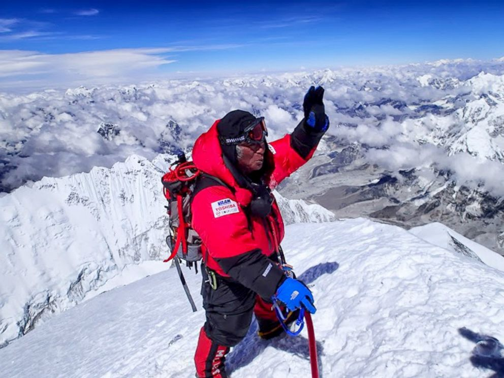 PHOTO: In this photo distributed by MIURA Dolphins Co., Ltd, 80-year-old Japanese extreme skier Yuichiro Miura stands atop the summit of Mount Everest as he becomes the oldest person to climb the worlds tallest mountain Thursday, May 23, 2013.