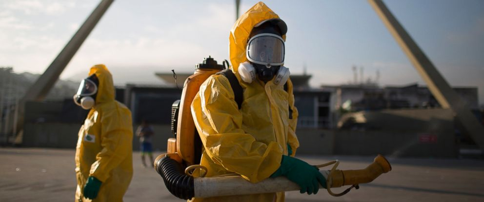 PHOTO: Health workers stand in the Sambadrome spraying insecticide to combat the Aedes aegypti mosquito that transmits the Zika virus in Rio de Janeiro, Brazil, Jan. 26, 2016.