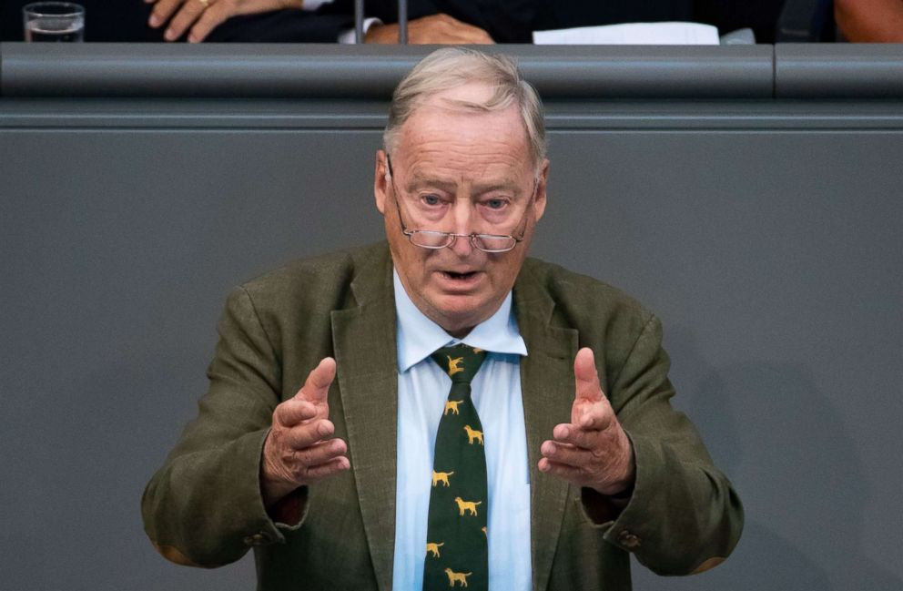 PHOTO: Co-leader of the Alternative for Germany party (AfD) Alexander Gauland speaks during a session of the German parliament Bundestag in Berlin, Germany, Sept. 12, 2018.