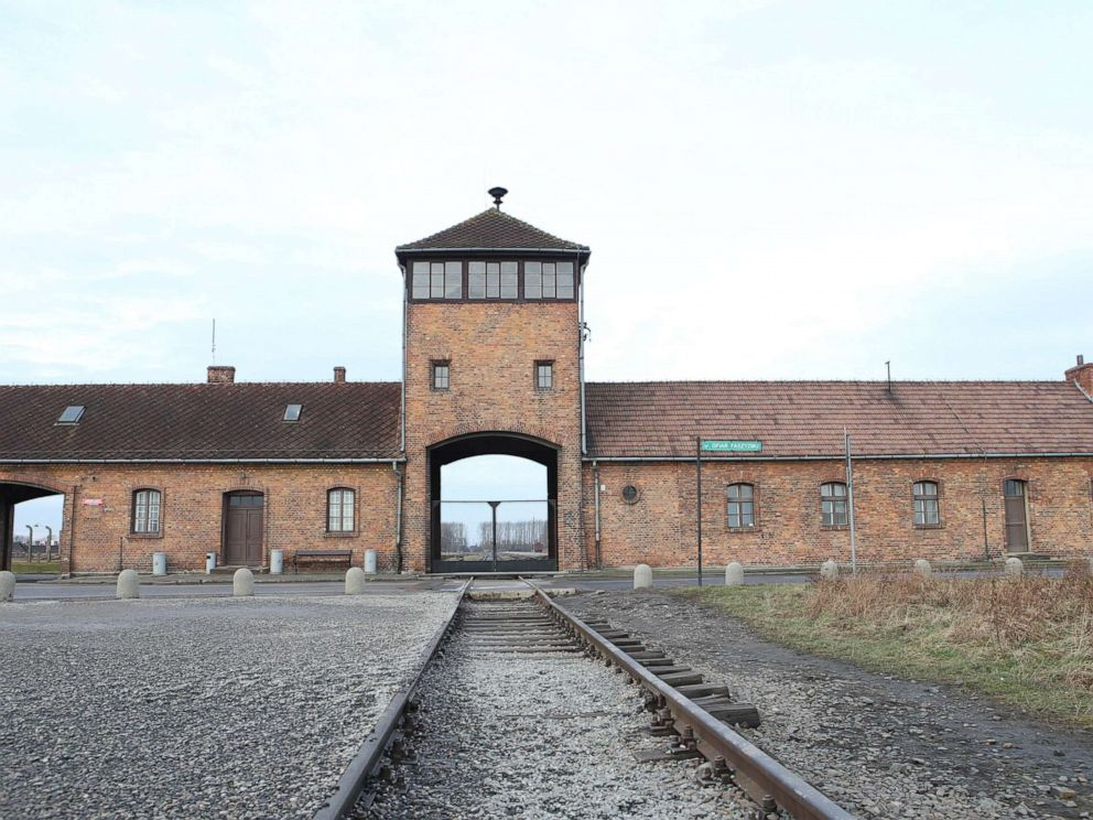 PHOTO: Railroad tracks lead to the entrance of the Auschwitz concentration camp, Jan. 27, 2018. Trains brought people to the camp.