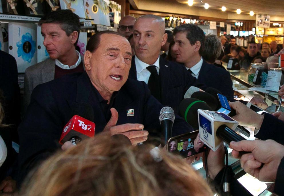 PHOTO: Former Italian Premier Silvio Berlusconi meets supporters in Cagliari, Italy, Jan. 18, 2019. The 82-year-old Berlusconi announced his candidacy with his center-right Forza Italia party Thursday in Sardinia.
