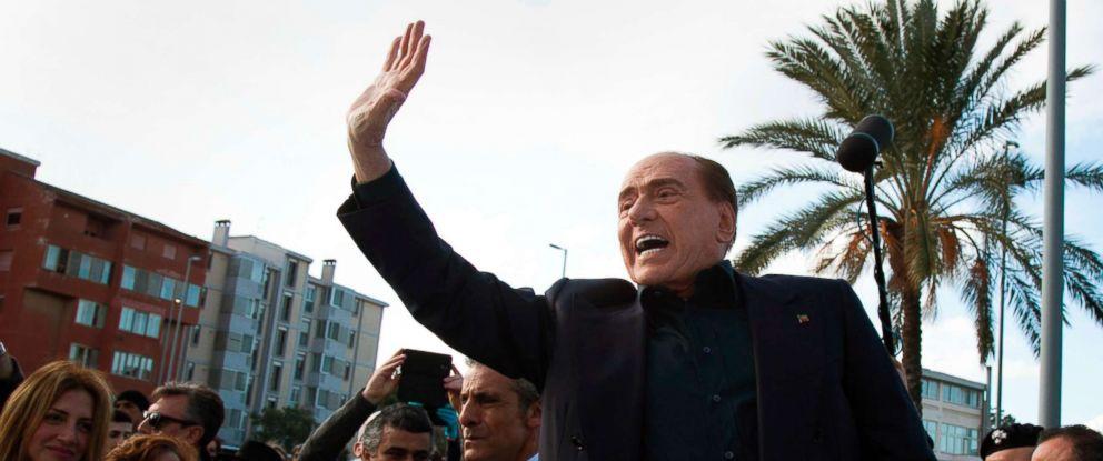 PHOTO: Former Italian Premier Silvio Berlusconi waves during a visit to Monserrato, near Cagliari, Italy, Jan. 17, 2019.
