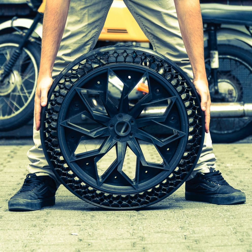 PHOTO: 3D printed, full-scale airless car tire developed by Berlin-based BigRep.