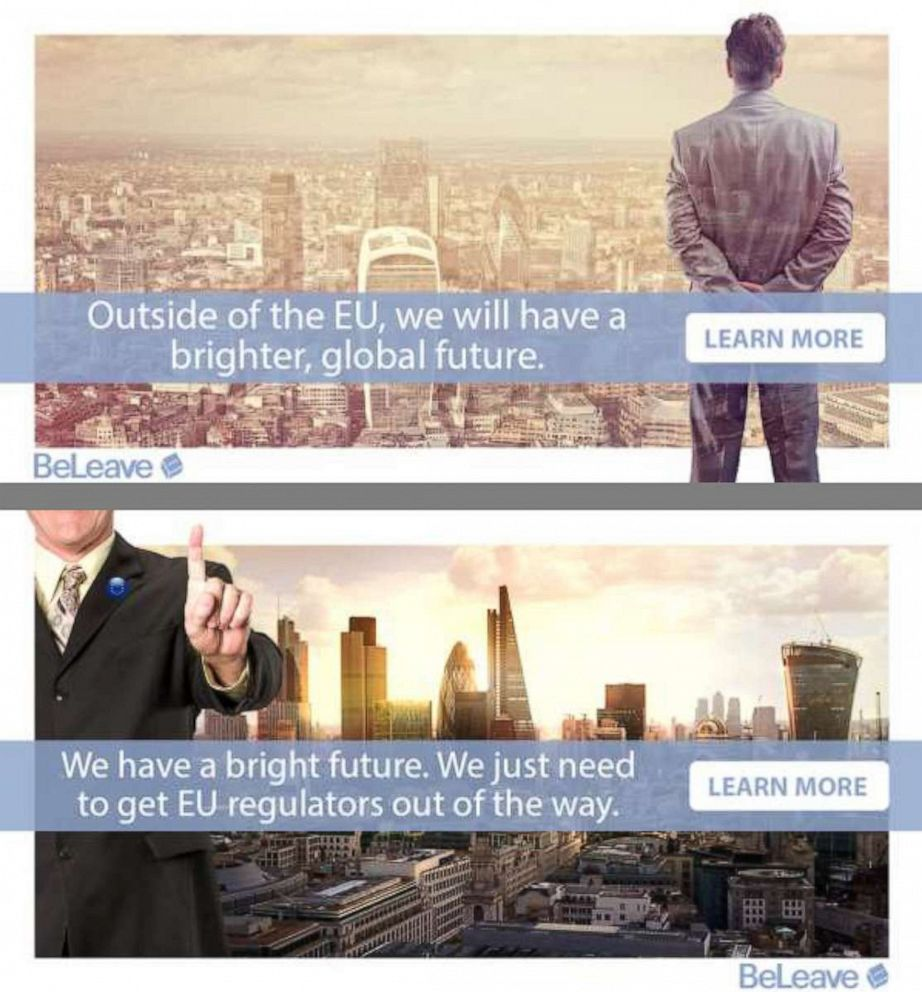 PHOTO: Examples of targeted advertising used by Vote Leave, the official Brexit campaign on Facebook.