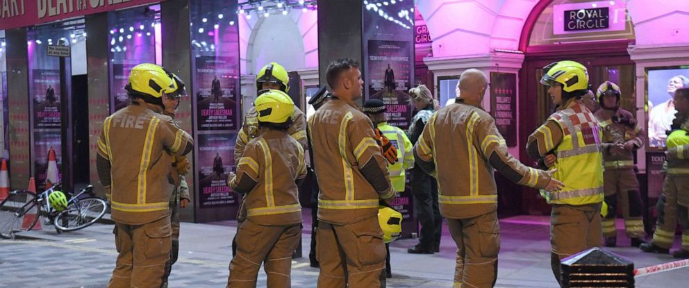 PHOTO: Fire fighters outside the Piccadilly Theatre in London, after it was evacuated when part of the ceiling fell into the auditorium during a performance of the play Death of a Salesman, Wednesday Nov. 6, 2019. (Kirsty OConnor/PA via AP)