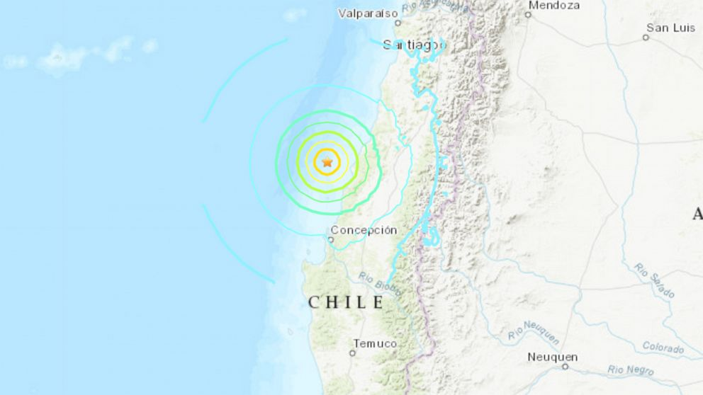 Magnitude 6.8 Erdbeben entdeckt vor der Küste von Chile