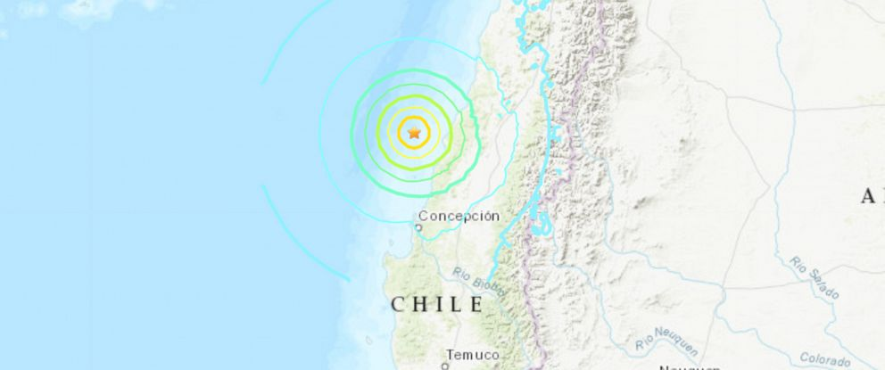 PHOTO: A map of the 6.8 magnitude earthquake off the coast of Chile is seen here.