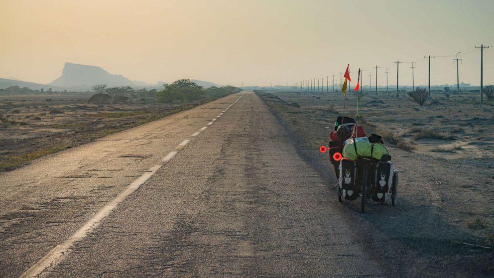 Bikes on the Pamir highway in Tajikistan.