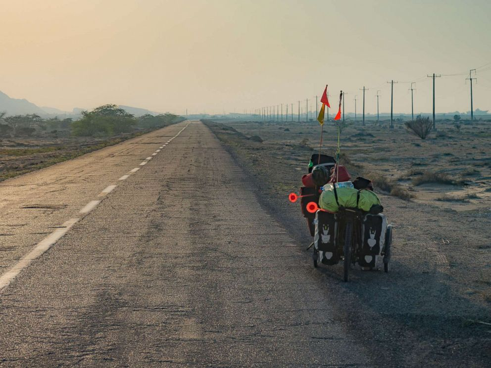 PHOTO: Bikes on the Pamir highway in Tajikistan.