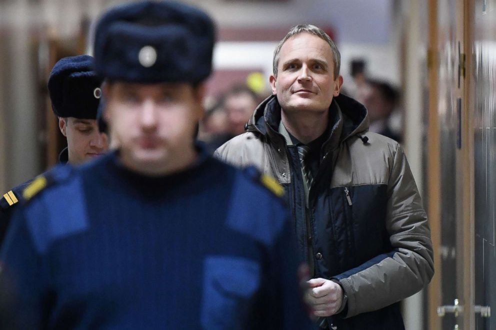 PHOTO: Dennis Christensen is escorted inside a courthouse following his sentencing in the town of Oryol, Russia, Feb. 6, 2019.
