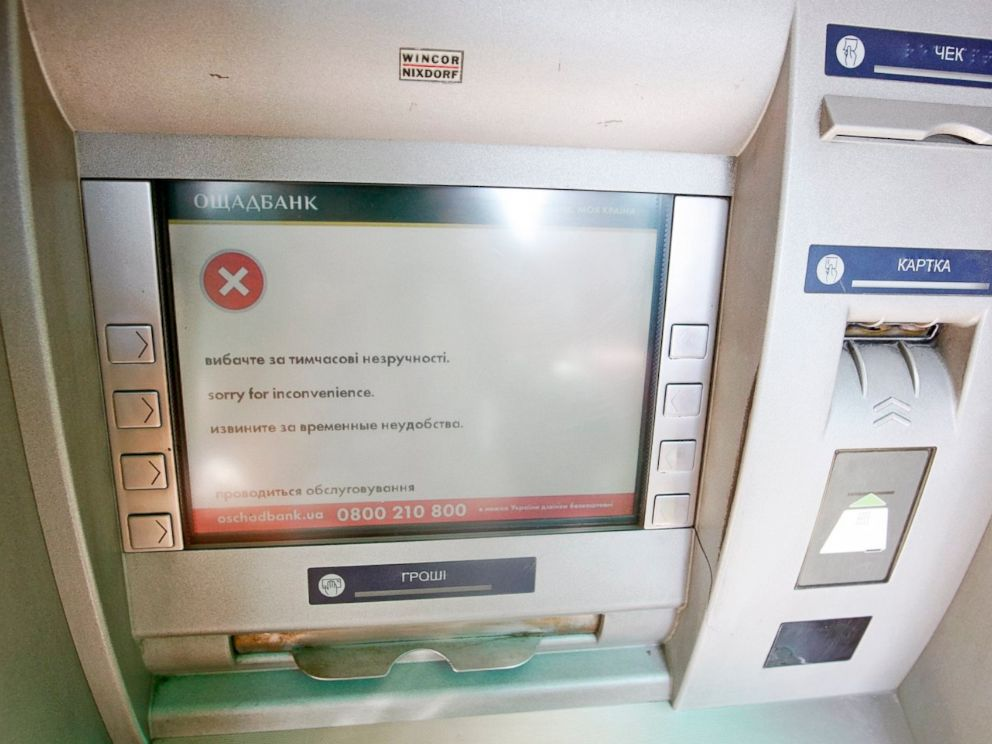 PHOTO: A terminal at the main post office of Ukrainian State Enterprise of Posts Ukrposhta,that was out of commission after Ukrainian institutions were hit by a wave of cyber attacks a day earlier, in Kiev, Ukraine, June 28, 2017.