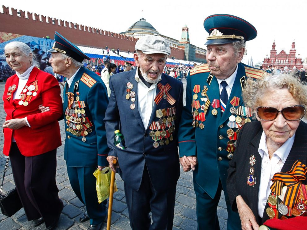 PHOTO: Russian veterans leave after a military parade on Red Square in Moscow, May 9,2016. Russia celebrated the 71st anniversary of the victory over Germany in the World War II.