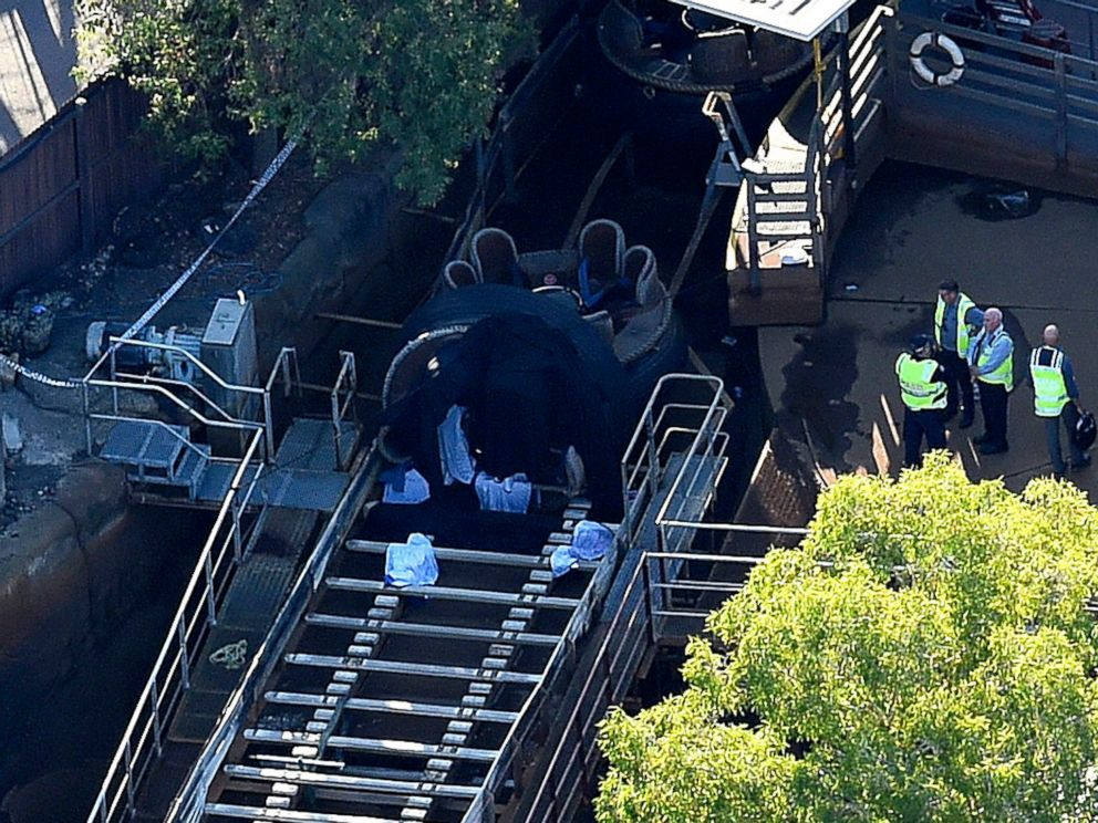 PHOTO: An aerial view shows Queensland Emergency service personnel at the scene of an incident at the amusement theme park Dreamworld, in Coomera, on the Gold Coast, Queensland, Australia, Oct. 25, 2016.