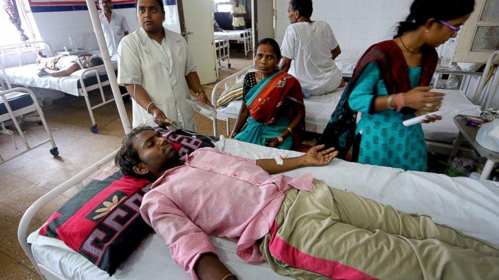 Sunil, 30, gets medical treatment in Jai Prakash Narayan hospital after suffering sunstroke and severe dehydration in Bhopal Madhya Pradesh, India, May 27, 2015.