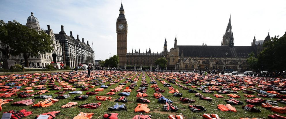 PHOTO: Life jackets worn by fleeing refugees lie in Parliament Square in London, Britain, Sept. 19, 2016.