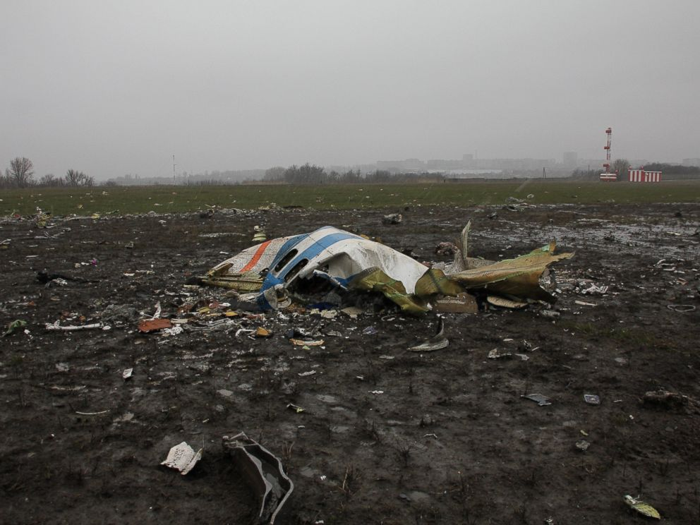 PHOTO:A handout picture released by the Russian Emergency Ministry shows debris of a Boeing 737 of flydubai low-cost carrier, which crashed on the runway of Rostov-on-Don airport, Russia, March 19, 2016.