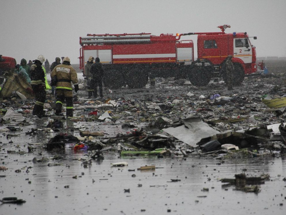 PHOTO: A handout picture released by the Russian Emergency Ministry shows debris of a Boeing 737 of flydubai low-cost carrier, which crashed on the runway of Rostov-on-Don airport, Russia, March 19, 2016.