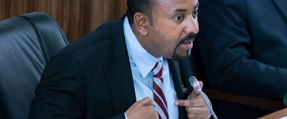 PHOTO: Ethiopian Prime Minister Abiy Ahmed addresses members of parliament at the Parliament building, in Addis Ababa, Ethiopia, Oct. 22, 2019.