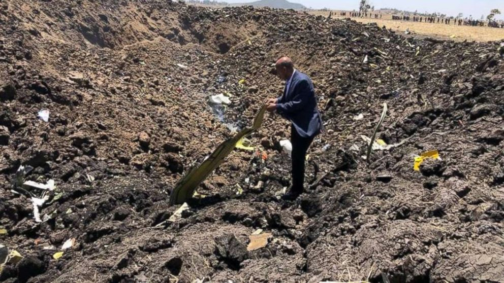 PHOTO: The site where an Ethiopian Airlines flight crashed on March, 10, 2019.