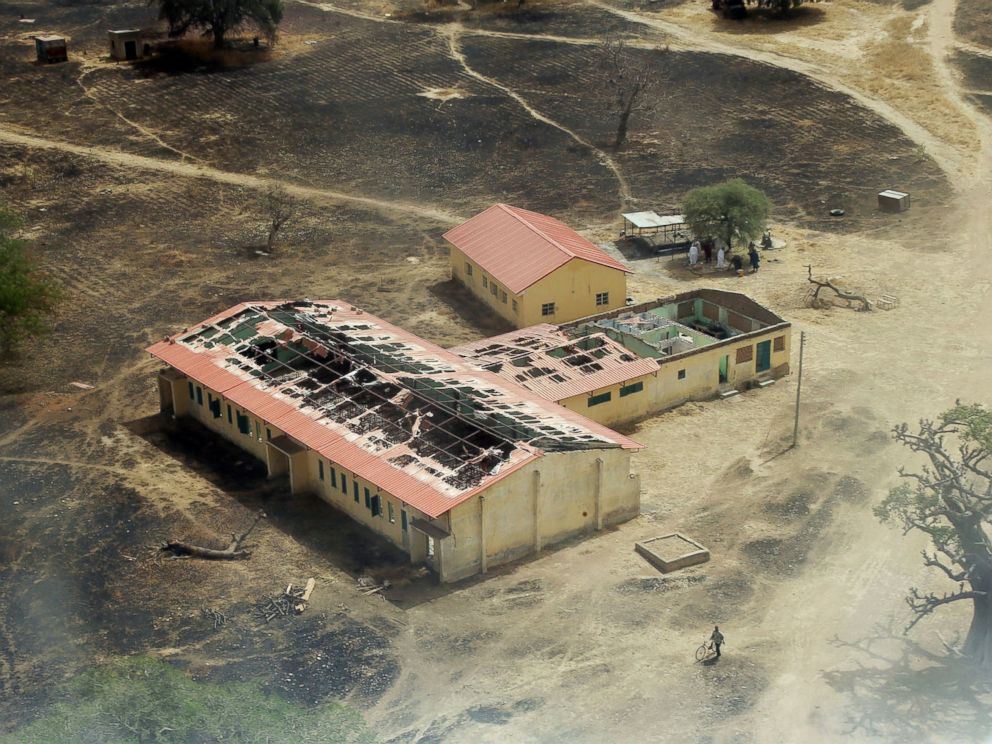 PHOTO: An arial view of the burnt-out classrooms of a school in Chibok, in Northeastern Nigeria, from where Boko Haram Islamist fighters seized 276 teenagers on the evening of April 14, 2014.