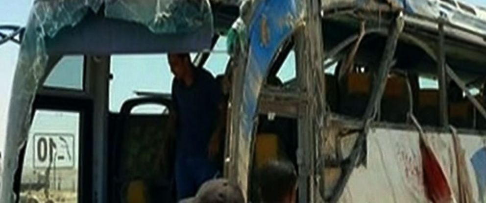 PHOTO: An image grab taken from Egypts state-run Nile News TV channel on May 26, 2017, shows the remains of a bus that was attacked while carrying Egyptian Christians in Minya province, 161 miles south of the capital Cairo.