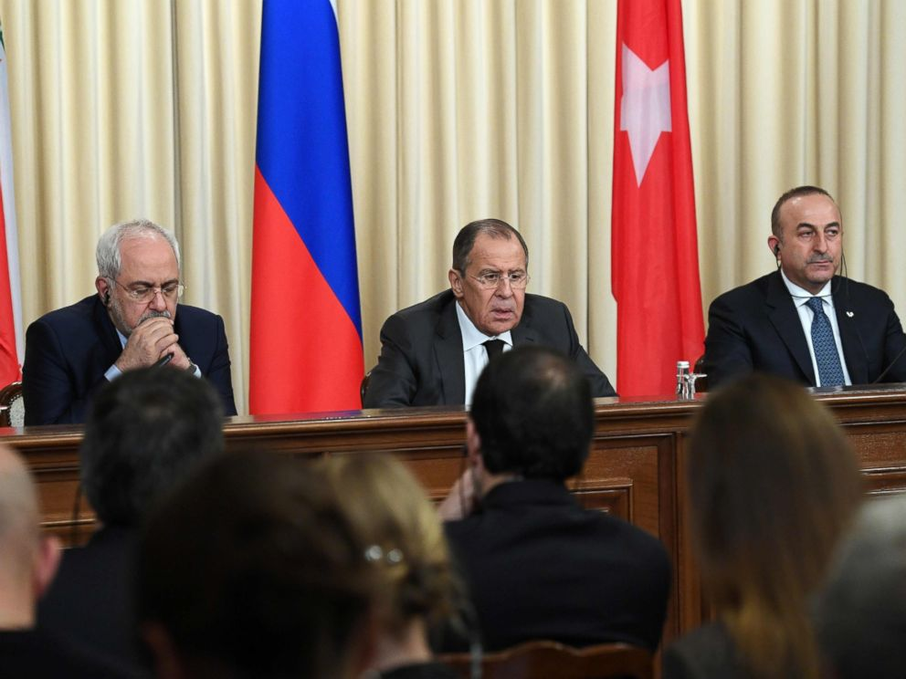 PHOTO: Iranian Foreign Minister Mohammad Javad Zarif, Russian Foreign Minister Sergei Lavrov and Turkish Foreign Minister Mevlut Cavusoglu attend a press conference in Moscow, on Dec. 20, 2016.