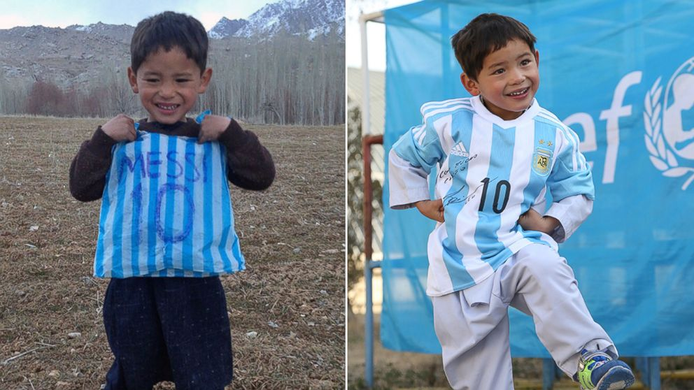 Afghan Boy Who Wore Plastic Bag 'Messi' Shirt Gets Signed Jersey ...