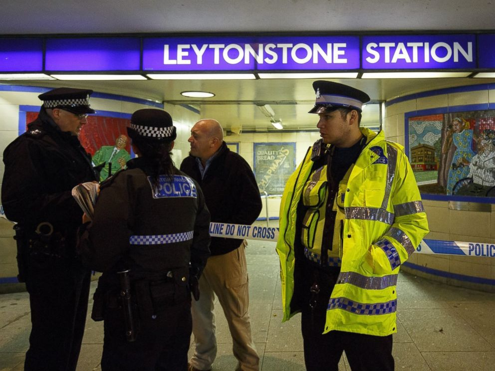 PHOTO: Police officers and crime scene investigators investigate a crime scene at Leytonstone tube station in east London on Dec. 05, 2015, after a man was seriously injured in a knife attack.