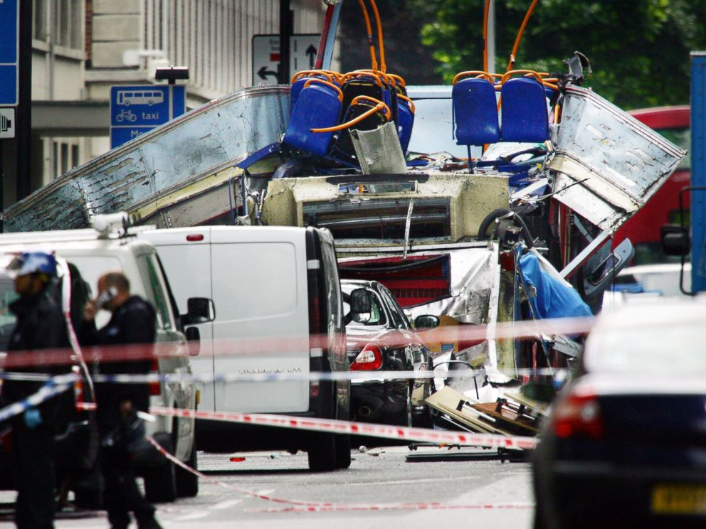 PHOTO: The remains of a double-decker bus after a bomb exploded in Woburn Place and Tavistock Square in London, July 7, 2005. Explosions ripped through three underground trains and a bus in London in a wave of terrorist attacks.