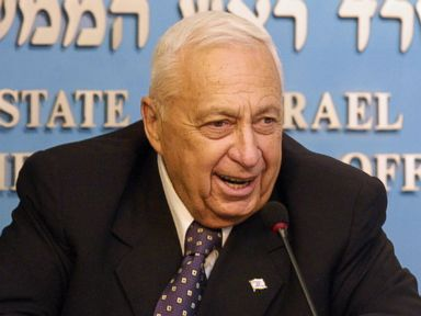 PHOTO: Israeli Prime Minister Ariel Sharon speaks from his Jerusalem office May 5, 2003. Israels parliament, the Knesset, interrupted its holiday to hold a special session on the international roadmap for the Middle East.
