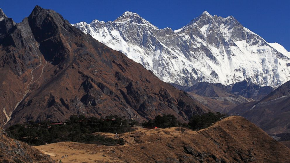 A view of Mount Everest and Ama Dablam from Sagarmatha National Park, Oct 30, 2012, Nepal.