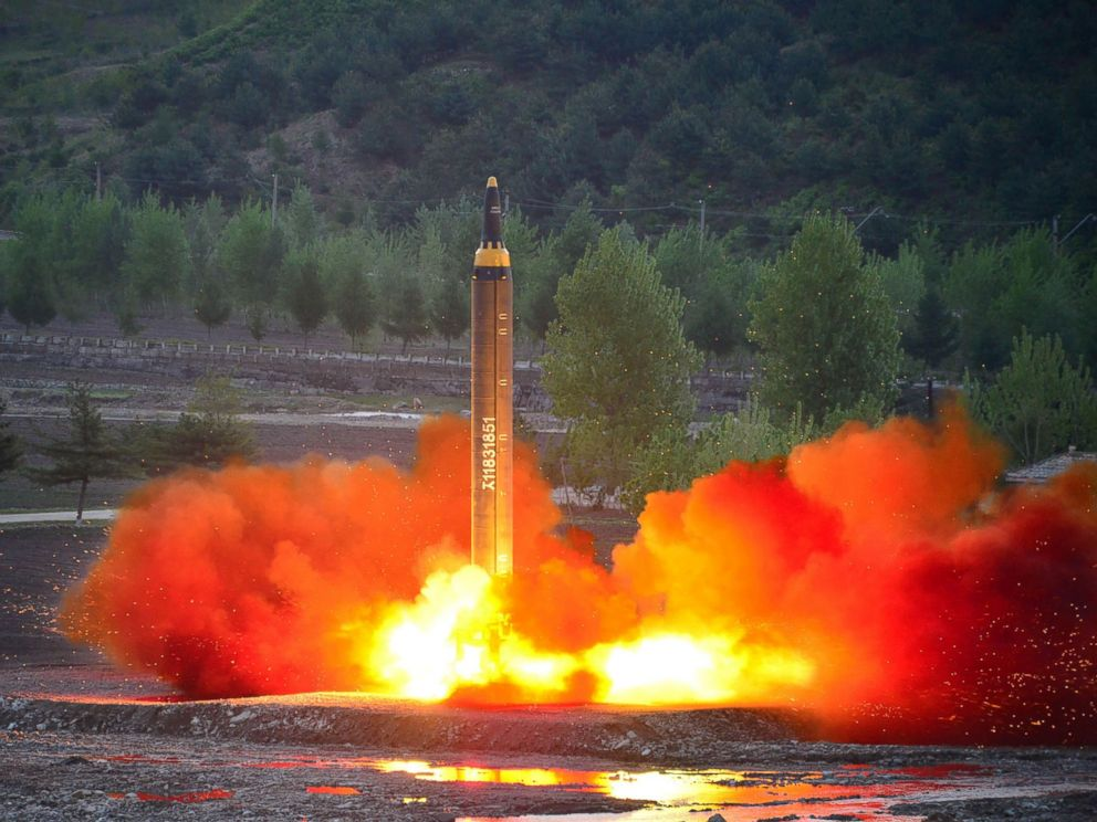 PHOTO: This picture taken on May 14, 2017 and released from North Koreas official Korean Central News Agency (KCNA) on May 15 shows a test launch of the ground-to-ground medium long-range strategic ballistic rocket Hwasong-12 at an undisclosed location.