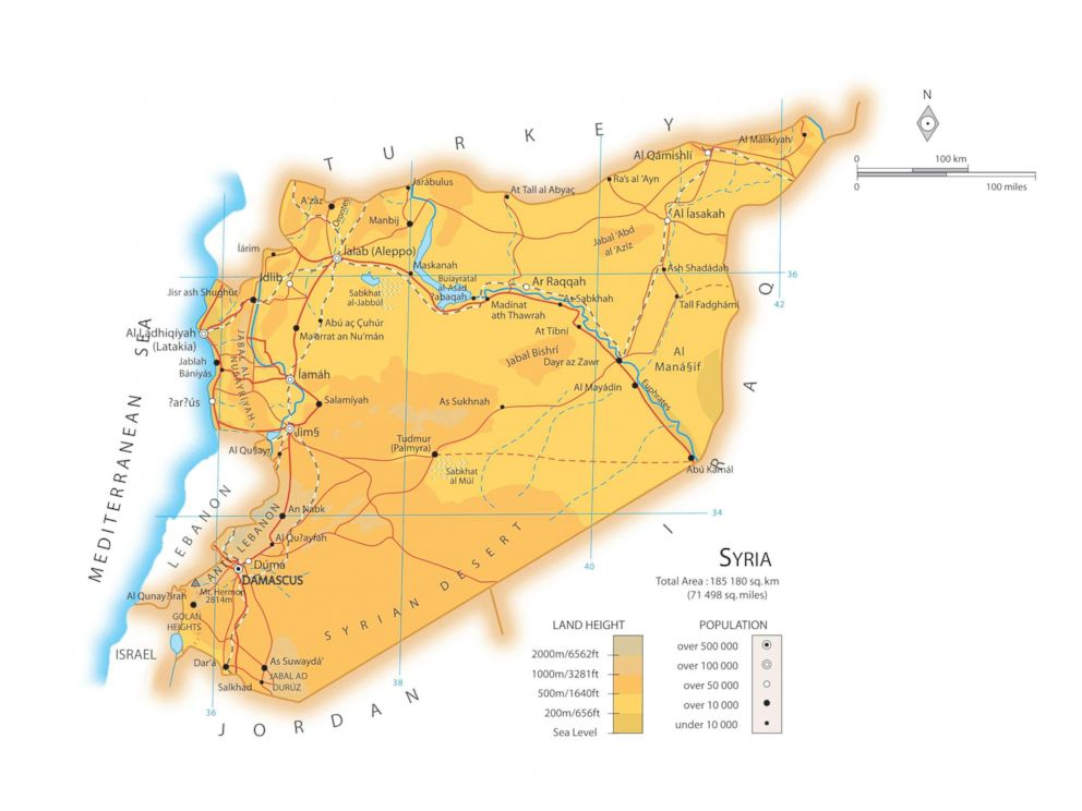 PHOTO: A map of the country Syria laying out its major cities