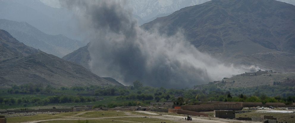 PHOTO: Smoke rises after an air strike by U.S. aircraft on positions during an ongoing an operation against Islamic State (IS) militants in the Achin district of Afghanistans Nangarhar province, April 11, 2017.
