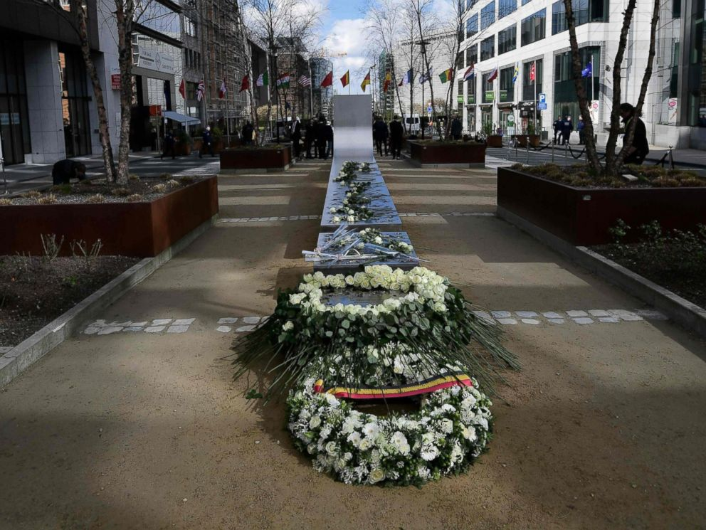 PHOTO: Wreaths are laid during the inauguration of a steel memorial by Belgian sculptor Jean-Henri Compere in Brussels as the country marks the first anniversary of the twin Brussels attacks, March 22, 2017.