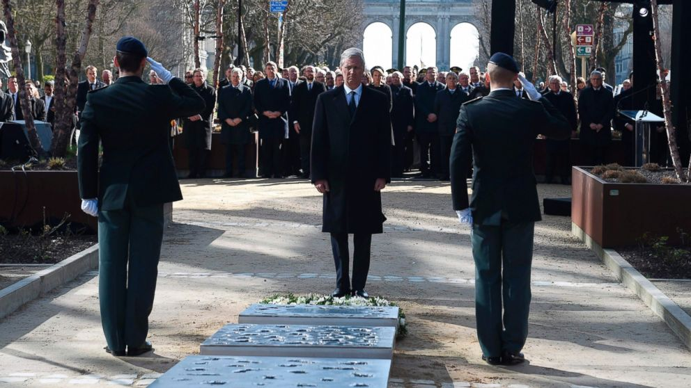 King Philippe of Belgium attends the inauguration of a steel memorial by Belgian sculptor Jean-Henri Compere in Brussels as the country marks the first anniversary of the twin Brussels attacks by Islamic extremists, March 22, 2017.
