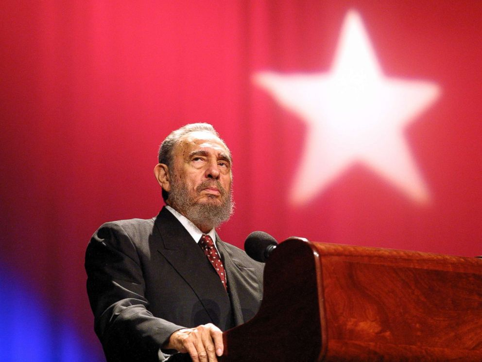 PHOTO: Fidel Castro speaks during a ceremony celebrating the inauguration of emergency classes for high school teachers in the President Salvador Allende school, in the Karl Marx Theatre in this Sept. 9, 2002 file photo in Havana, Cuba.