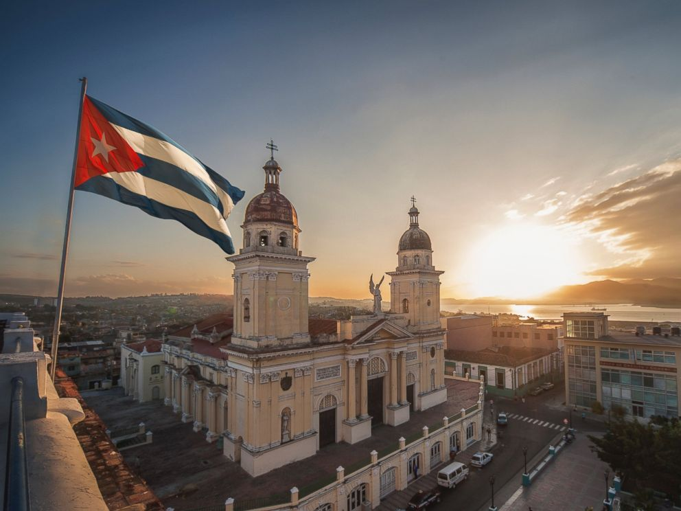 PHOTO: A Cuban flag is pictured over Plaza de la Cathdral in Santiago de Cuba, Cuba in this undated stock photo.