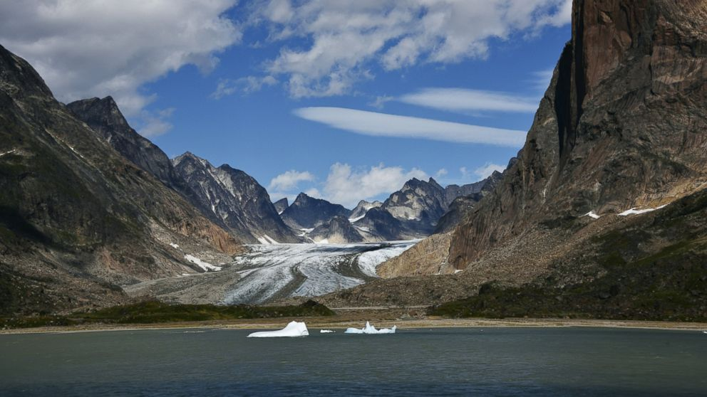 A Greenland glacier melts into the fjords in this undated stock photo.