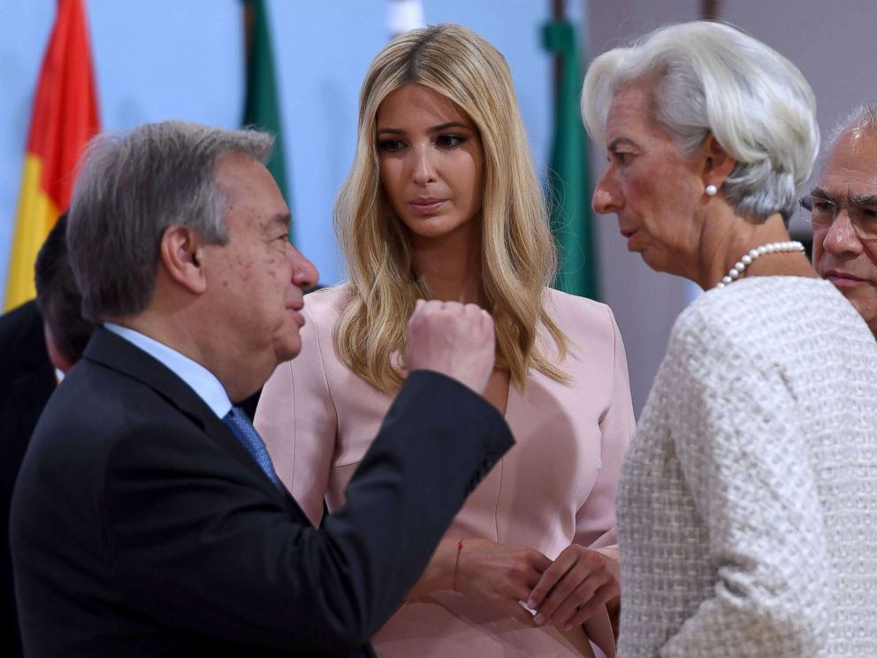 PHOTO: Ivanka Trump talks with Christine Lagarde, right, and Antonio Guterres during the panel discussion Launch Event Womens Entrepreneur Finance Initiativeat the G20 Summit in Hamburg, Germany, July 8, 2017.