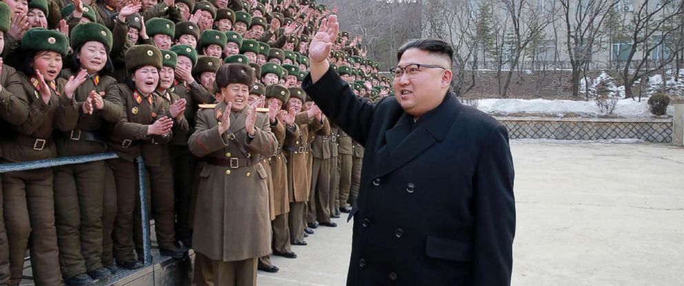 PHOTO: North Korean leader Kim Jong-Un waving as he inspects the headquarters of Large Combined Unit 966 of the KPA at an undisclosed location, March 1, 2017.