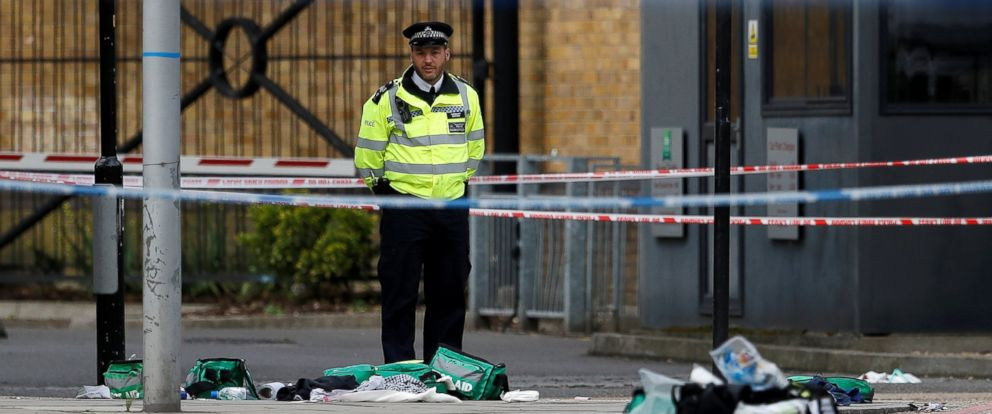 PHOTO: A police officer stands behind discarded medical equipment near Borough Market after an attack left 7 people dead and dozens injured in London, June 4, 2017.