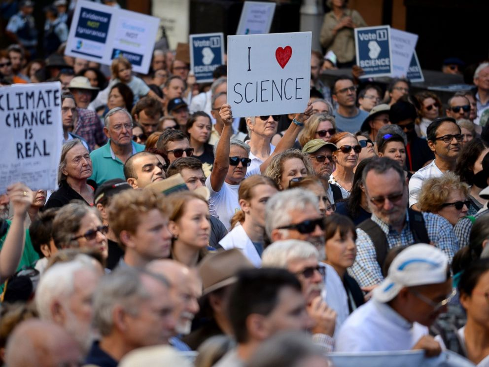 PHOTO: Supporters of science and research gather for the March for Science protest in Sydney, April 22, 2017.