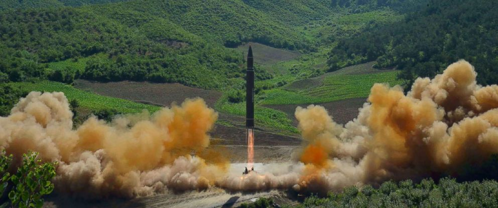 PHOTO: This picture taken and released on July 4, 2017 by North Koreas official Korean Central News Agency (KCNA) shows the test-fire of the intercontinental ballistic missile Hwasong-14 at an undisclosed location.