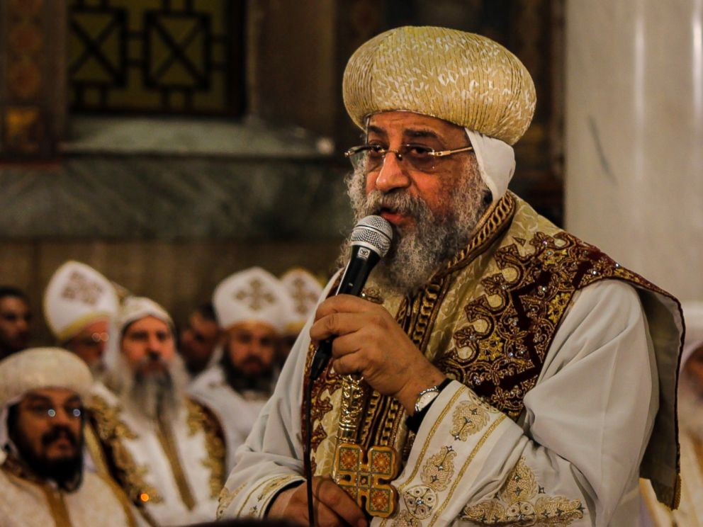 PHOTO: Coptic Pope Tawadros II officiates a mass in memory of the victims of the explosion at Saint Peter and Saint Paul Coptic Orthodox Church, on the 40th day after the attacks, at the Saint Peter and Saint Paul church in Cairo, Jan. 23, 2017.