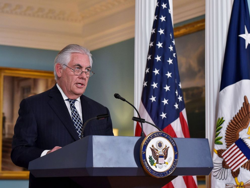 PHOTO: Secretary of State Rex Tillerson holds a press conference on Iran in the Treaty Room of the State Department in Washington, April 19, 2017.