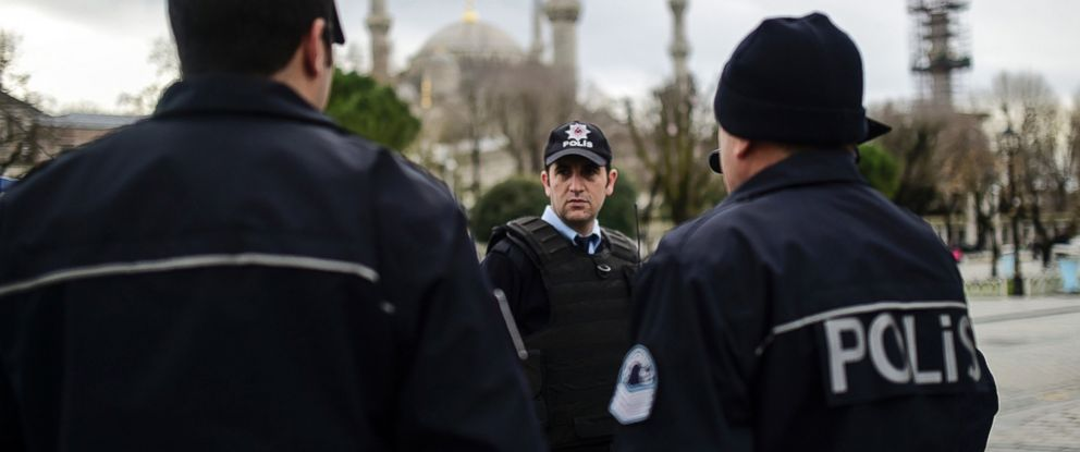PHOTO: Turkish police officers stand guard near the Blue Mosque in Istanbuls tourist hub of Sultanahmet, Jan. 13, 2016, a day after an attack.