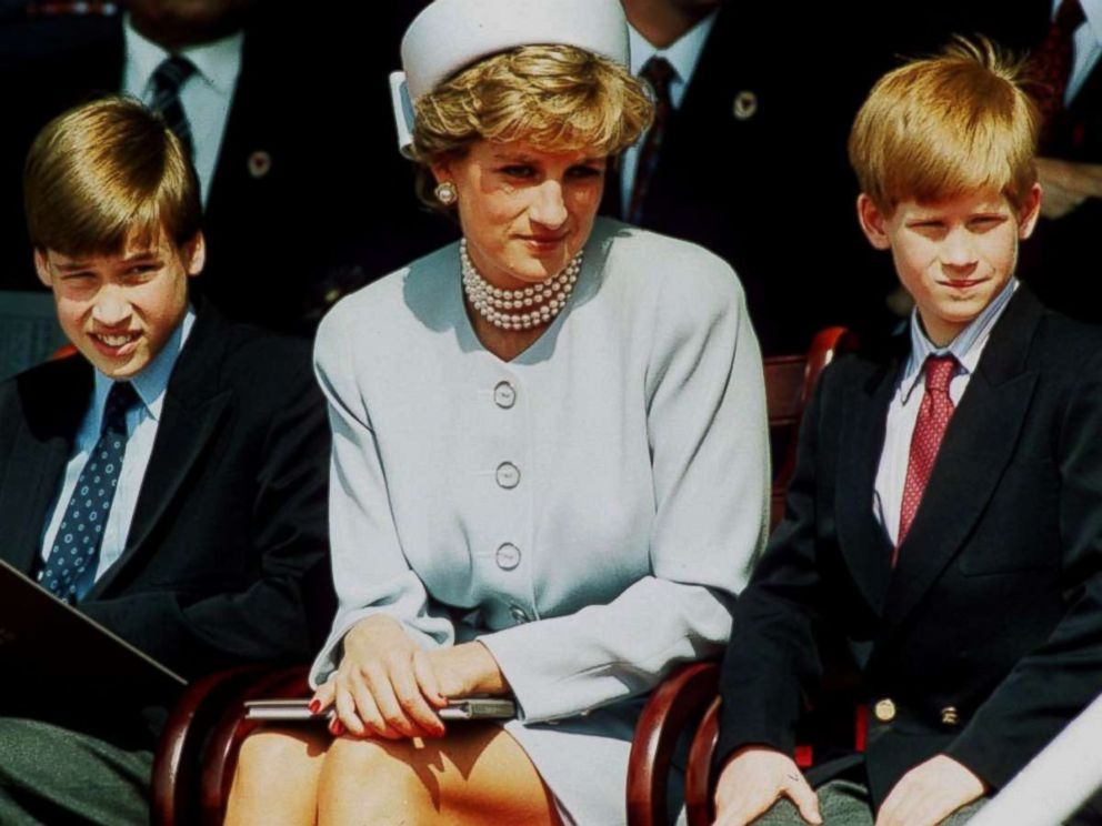 PHOTO: Princess Diana, Princess of Wales with her sons Prince William and Prince Harry attend the Heads of State VE Remembrance Service in Hyde Park in this May 7, 1995, in London.